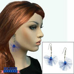 Blue Tulle Beaded Silver Tone Dangle Drop Earrings