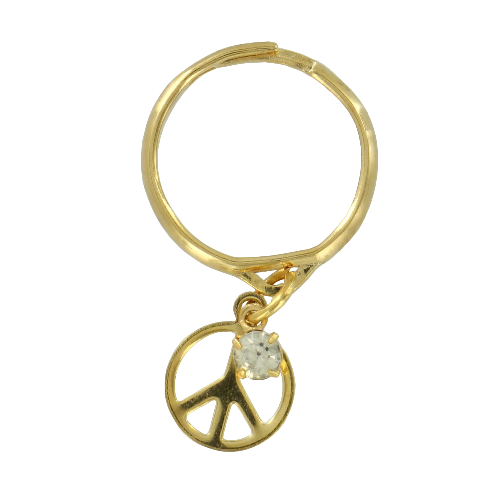 Peace Sign Ring Dangle Rhinestone Charm Kinetic Gold Tone Adjustable Size