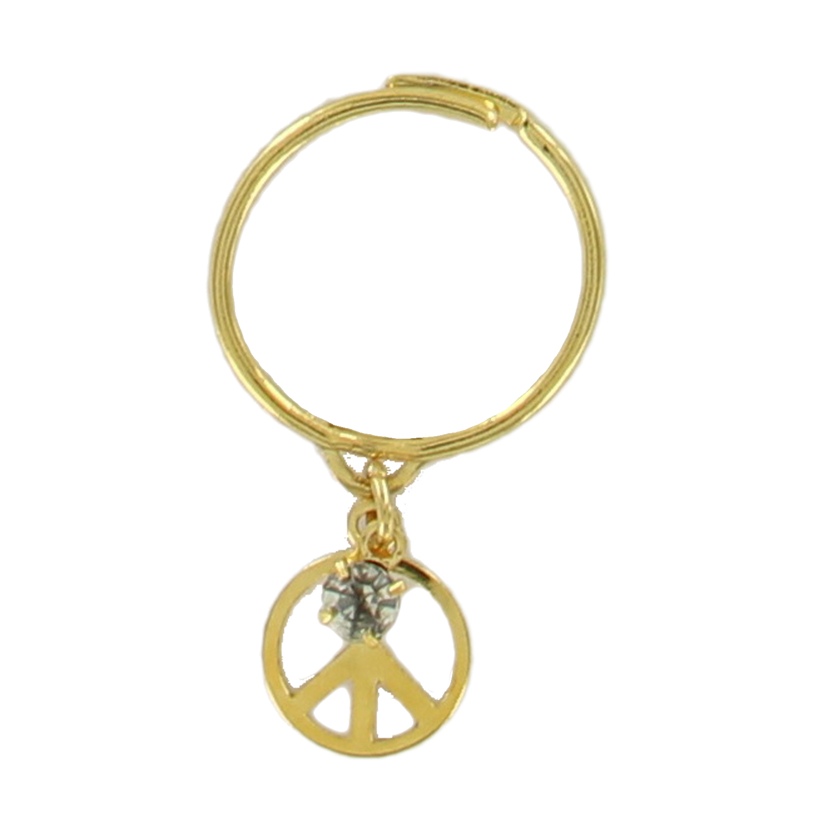 Peace Sign Charm Ring Dangle Rhinestone Kinetic Gold Tone Adjustable Size