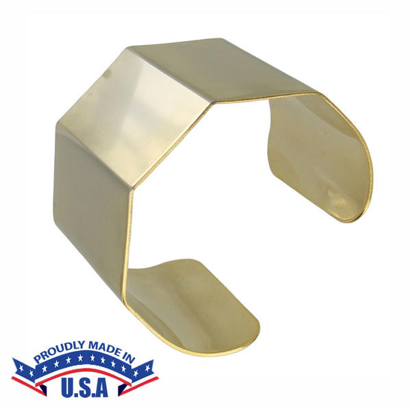 Satin Gold Tone Geometric Metallic Cuff Bracelet USA Made Nickel Free