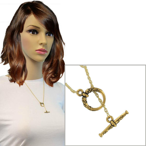 Ky & Co Toggle Necklace Rope Chain Gold Tone Lariat 21""
