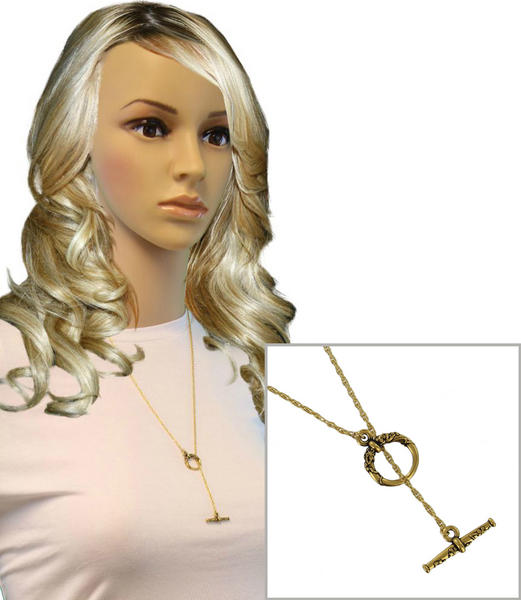 Ky & Co Toggle Necklace Rope Chain Gold Tone Lariat 24""