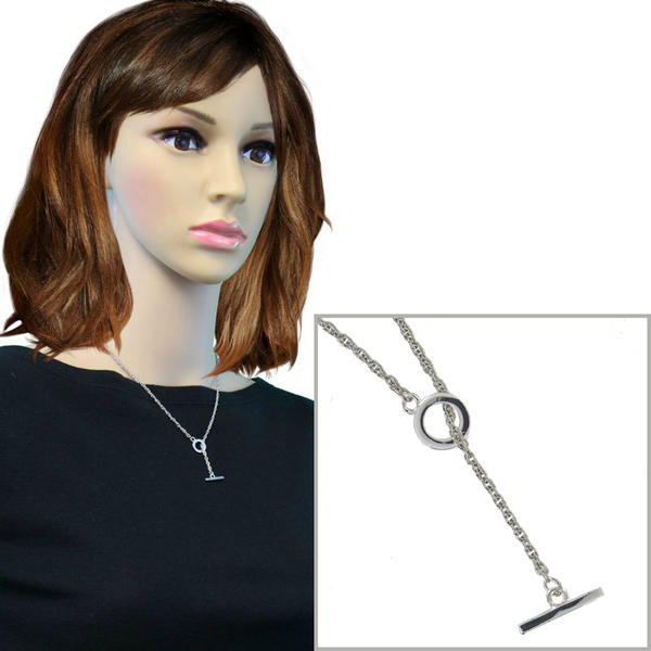 Ky & Co Toggle Necklace Rope Chain Silver Tone Lariat 18""