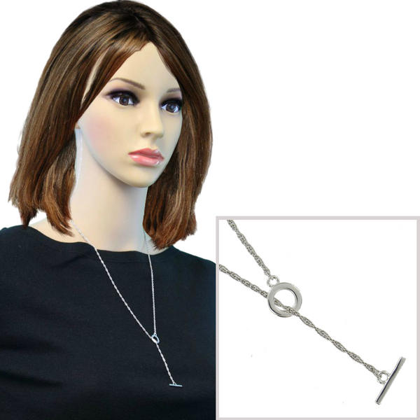 Ky & Co Toggle Necklace Rope Chain Silver Tone Lariat 24""