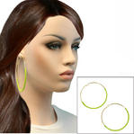 "Ky & Co Large Green String Wrap Gold Tone Pierced Hoop Earrings USA Made 3"" Thumbnail 1"