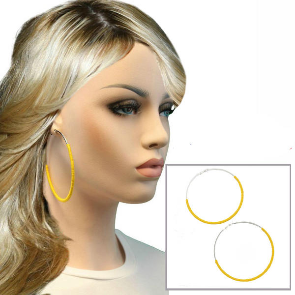 Ky & Co Extra Large Yellow String Wrap Pierced Hoop Earrings Silver Tone USA Made 3 1/8""