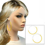 "Ky & Co Extra Large Yellow String Wrap Pierced Hoop Earrings Silver Tone USA Made 3 1/8"" Thumbnail 1"