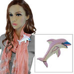 Vintage Dolphin Lavender Painted Wooden Scarf Slide Clip Ring or T Shirt Tie