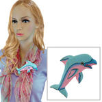 Vintage Dolphin Pink Light Blue Painted Wooden Scarf Slide Clip Ring or T Shirt Tie