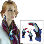Vintage Earrings & Scarf Clip or T Shirt Tie Set Tropical Toucan Bird Painted