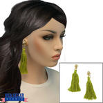 Clip On Earrings Handmade Light Green Thread Tassel Gold Tone 4 1/4""