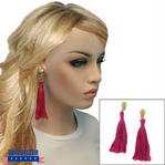 Clip On Earrings Handmade Bright Pink Thread Tassel Gold Tone 4 1/4""