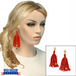 Clip On Earrings Handmade Red Thread Tassel Gold Tone 4 1/4""