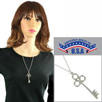 "Skeleton Key Silver Tone Pendant Necklace Rope Chain 24"" USA Made"