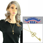 "Skeleton Key Gold Tone Pendant Necklace Rope Chain 24"" USA Made"