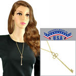 "Long Skeleton Key Gold Tone Pendant Necklace Rope Chain 24"" USA Made"