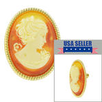 Upcycled Oval Carnelian Cameo Pin Brooch Orange Resin Gold Tone Vintage Parts