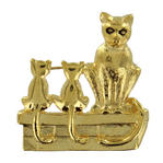Alley Cat with Kittem Pin Brooch Gold Tone Figural Animal