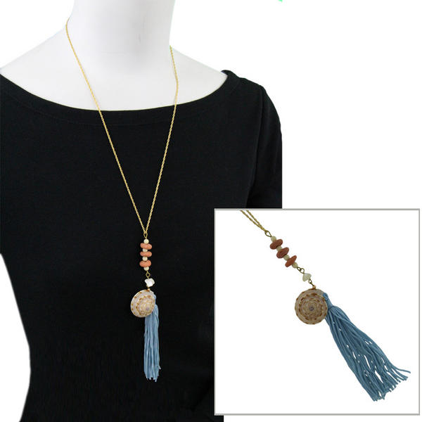 Upcycled Genuine Shell Light Blue Tassel Pendant Necklace Vintage Parts 24""