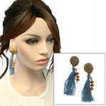 Light Blue Tassel Pierced Earrings Nautical Upcycled Genuine Shell 4 1/2""