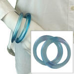 Bangle Bracelets Set of 2 Morphed Light Blue Iridescent Lucite