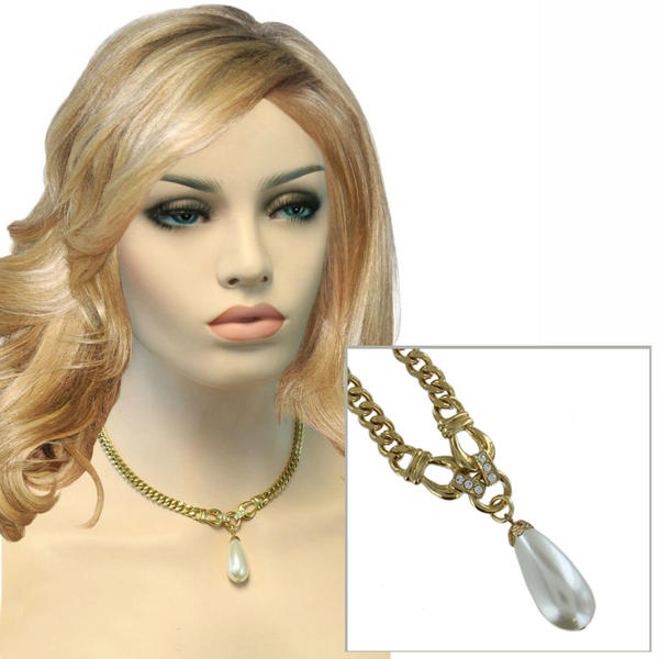 Faux Pearl Pendant Necklace Gold Tone Curb Chain Rhinestone 17""