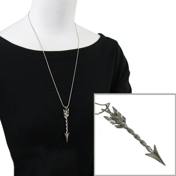 Silver Tone Large Arrow Pendant Necklace Serpentine Chain 24""