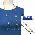Beaded Eyeglass Chain Holder Glass Seed Bead Shiny Gold Tone Green Brown