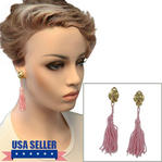 Clip On Earrings Light Pink Tassel Dangle Gold Tone Swirl Upcycled 3 1/2""