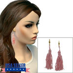 Pierced Lever Back Earrings Light Pink Tassel Dangle Gold Tone Upcycled 3 1/4""