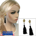 Clip On Earrings Black Tassel Dangle Gold Tone Swirl Upcycled 3 1/2""