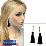Black Tassel Pierced Lever Back Earrings Dangle Gold Tone Upcycled 3 1/4""