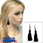 Black Tassel Pierced Lever Back Earrings Dangle Silver Tone Upcycled 3 1/4""