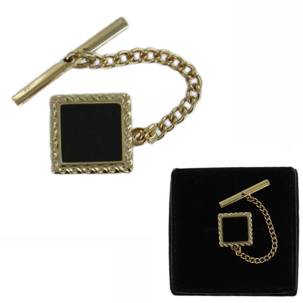 Gold Tone Black Epoxy Ribbed Square Tie Tack Mens Gift Boxed