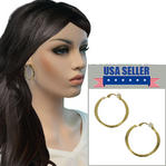 Gold Tone Clip On Hoop Earrings Flat Textured Design 1 1/2""