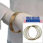 Plain Steel Gold Tone Bangle Bracelet Set of 4 Upcycled USA Made Size XL
