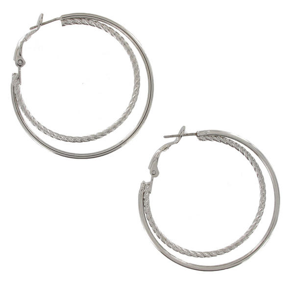 "Earrings Silver Tone Double Hoop Twisted Detail 1 5/8"" Surgical Steel Post"