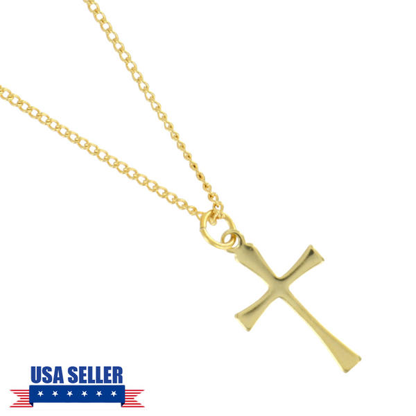 Gold Tone Cross Christian Charm Religious Pendant Necklace USA Made 16""