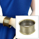 Ky & Co Wide Upcycled Geometric Ribbed Brass Bangle Bracelet