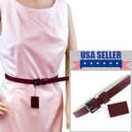 "WCM Burgundy Ladies Skinny Belt 3/4"" Width Fits at 28""-32"" Medium M Thumbnail 1"