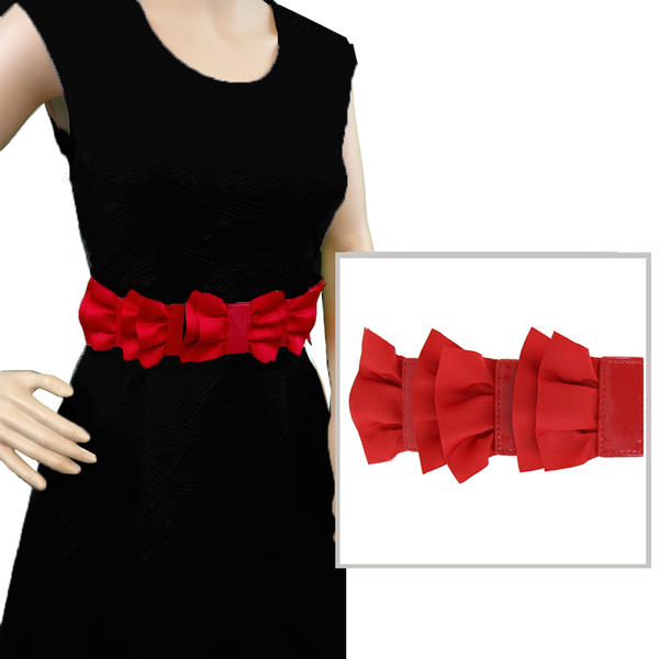 "Red Black Rockabilly Grosgrain Ribbon Bow Waist Belt 28"" Plus Stretch Small S"
