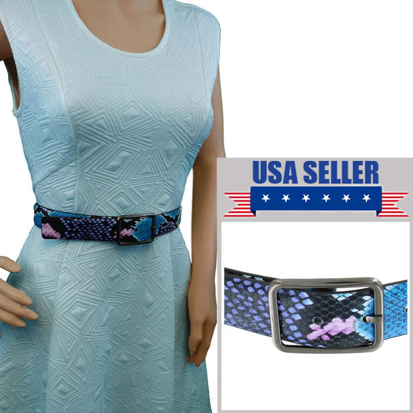 "Snazzy Snake Print Jean Belt Blue Purple Black Pink Fits 30-34"" M"