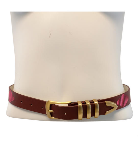 "Ladies Embroidered Brown Pink Jean Belt Hip or Waist Fits 34-38"" Large"