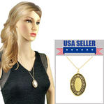 "Locket Necklace 24"" Chain Gold Tone Holds Photos Flower Design"