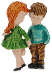 Vintage 1970S Fran Mar Moppets Boy Girl Couple Love Pin