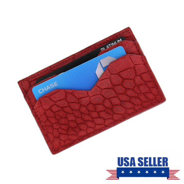 Caracas Red Genuine Suede Leather Credit Card Case Wallet