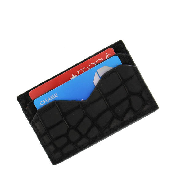 Caracas Black Genuine Suede Leather Credit Card Case Wallet
