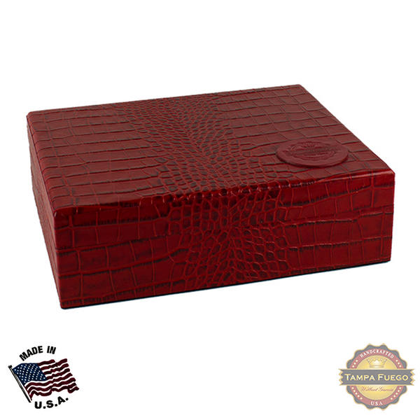 Tampa Fuego 20 Cigar Crocodile Grain Leather Humidor Cedar Box Red