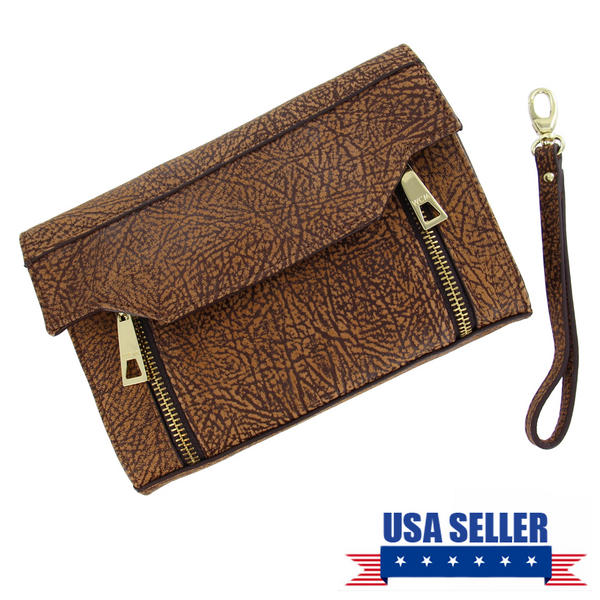 WCM Clutch Purse Brown Tan Textured Safari Genuine Leather Handbag Wristlet 8""