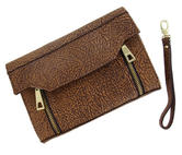 "WCM Clutch Purse Brown Tan Textured Safari Genuine Leather Handbag Wristlet 8"" Thumbnail 2"